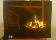 Firepit - Original Acrylic - Not For Sale